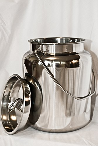 10 Qt Stainless Steel Milk Can Tote. Solid & Seamless, Easy Carry (Stainless Steel Pail With Lid compare prices)