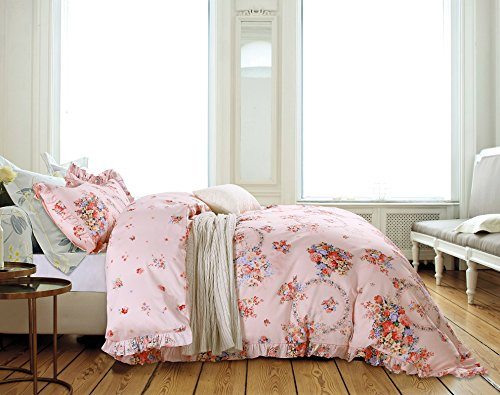French Country Shabby Chic Ruffle Duvet Cover Princess Cotton Bedding 3pc Set Vintage Floral Girls Teen