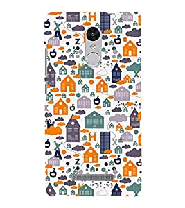 KIDDISH PATTERN OF HUTS AND CLOUDS 3D Hard Polycarbonate Designer Back Case Cover for Xiaomi Redmi Note 3 :: Xiaomi Redmi Note 3 (3rd Gen)