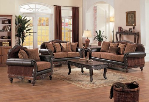 Buy Low Price Poundex 3pcs Loveseat Sofa and Chair – Espresso and Beige (VF_LivSet-F7649)