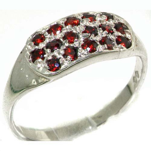 High Quality Solid Sterling Silver Vibrant Natural Garnet Ring - Size 11.75 - Finger Sizes 4 to 12 Available - Suitable as an Anniversary ring, Engagement ring, Eternity Ring, or Promise ring