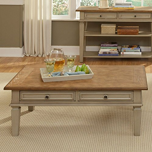 Liberty Furniture Bungalow Rectangular Driftwood And Taupe Coffee Table, Beige, Rubberwood Solid front-841276
