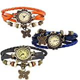 Combo of 3 VB-310 Vintage Butterfly Black + Orange + Blue