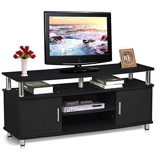 World Pride Large Black Modern TV Cabinet Stand with Chrome Legs and Cupboard and Shelves for 50 Inch Flat Screens Media Entertainment Center (Long Tv Unit compare prices)