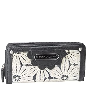 Betsey Johnson Oops-A-Daisy Zip Around Wallet - Black