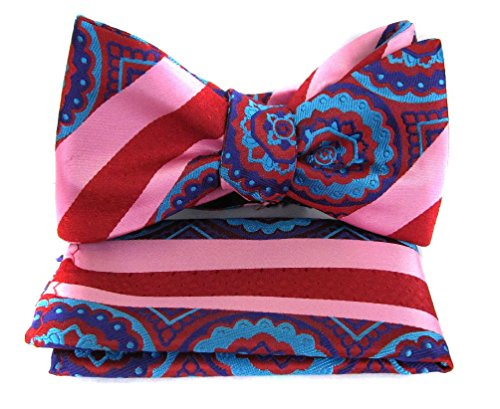 Fbt-Vs-3 - Crimson - Turquoise - Purple - Ultra Modern Self Tie Bow Tie Hanky