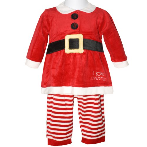 Baby Girls Red I Love Christmas Outfit Long Sleeve Dress Top with Faux Black Belt & Striped Leggings 2 Piece Set (Newborn)