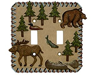 MOOSE bear Double Light SWITCHPLATE lodge switch plate from Borders Unlimited