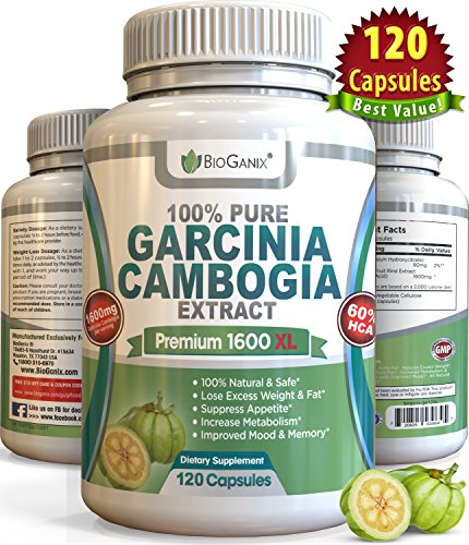 #1 Best 100% Pure Garcinia Cambogia Extract Premium 1600mg XL (120 capsules) Ultra Safe All Natural 60% HCA Formula, Max Weight Loss Diet Supplement - NO ADDED CALCIUM or Additives (Plus BONUS eGuide)