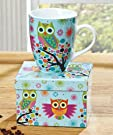 Whimsical Owl 14 oz Ceramic Coffee Mug in Decorative Gift Box