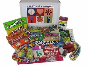 50th Birthday Gift Box Peace & Love Retro Candy- Jr.