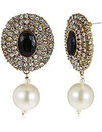 Poetry Accessories Pearl Stud Earrings For Women (Black) (PMER-027)