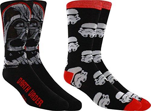 Star Wars Darth Vader Men'S Casual Crew Sock Set - Pack Of 2 (Men'S Shoe Size 6-12)
