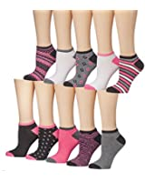 Tipi Toe Women's Colorful Patterned No Show Socks, 10 or 20 Pairs