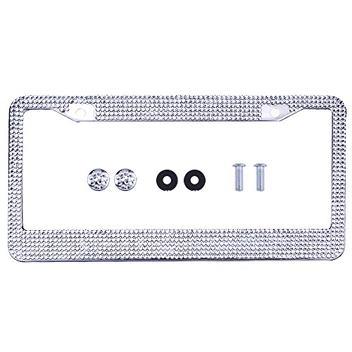 eBoot Bling Rhinestone Car License Plate Frame with 7 Row Clear Crystal (Diamond Plate License Plate Frame compare prices)
