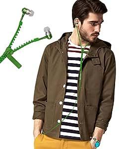 Zipper Style 3.5mm In Ear Bud Earphones Headset Handsfree Compatible For Motorola Moto Z -Green