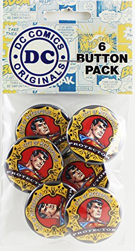 Button set DC Comics Superman Crest 6 Individual Loose Buttons, 1.25""