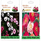 Alkarty Dimorphotheca White Star And Poppy Shirley Mixed Seeds Pack Of 20 (Winter)