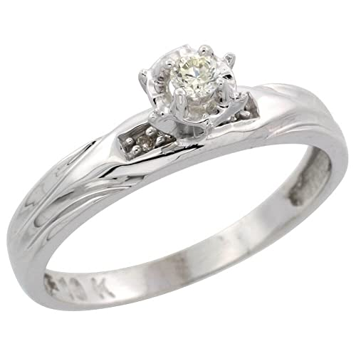 9ct White Gold Diamond Engagement Ring, 3.5 mm Wide