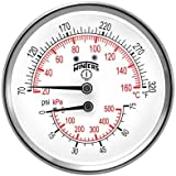 "Pressure - Temperature Combination Gauge - 1/2""Center Back Mount P&T Gauge - Winters Instruments TTD402"