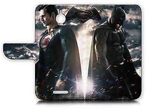 HTC Desire 510 Flip Wallet Case Cover & Screen Protector & Charging Cable Bundle! A9012 Batman Superman at Gotham City Store