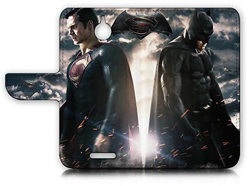 HTC Desire 510 Flip Wallet Case Cover & Screen Protector & Charging Cable Bundle! A9012 Batman Superman at Gotham City Store