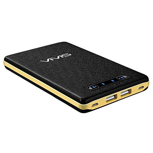 VIVIS 20000mAhモバイルバッテリー 大容量 高品質リチウムポリマー電池使用 スマホ充電器(2入力ポート 合計4A 2出力ポート合計5A急速充電可能 iSmart機能搭載 皮のような手触り スライドスイッチのデザイン)iPhone / iPad / Galaxy / Xperia / Androidスマホ/ タブレット等対応(ブラック)