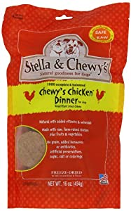 Stella & Chewy's Freeze Dried Dog Food for Adult Dogs, Chicken Patties, 16 Ounce Bag