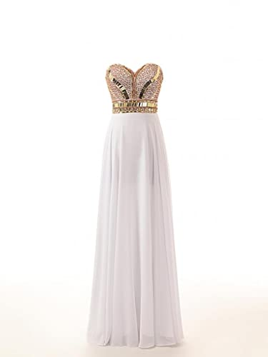 Changjie Women;s Long Sweetheart Beaded Chiffon Prom Dress