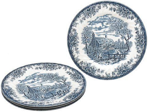 Buy Churchill China Brook Blue 10-Inch Dinner Plates, Set of 4
