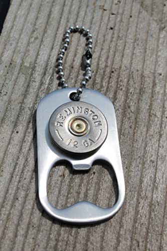 12 gauge remington shot gun dog tag style keychain bottle opener handmade. Black Bedroom Furniture Sets. Home Design Ideas