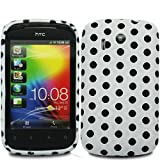 Cooltechstuff White Black Polka Dots Silicone Rubber Soft Gel Multi Color Series Case Cover For HTC Explorer A310E