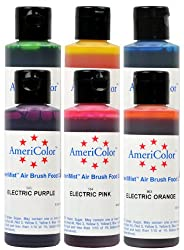 6 AmeriMist 4.5oz Electric Colors Set Airbrush Cake Decorating Color