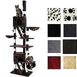 Miganeo Kratzbaum für Katzen KF-72, 237x124x39cm Katzenpfoten deckenhoch ausziehbar, (höhenverstellbar mit Deckenspanner) 217-237 cm (terrabraun)