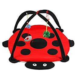 Cat Activity Center with Hanging Toy Balls, Mice & More - Helps Cats Get Exercise & Stay Active - Best Cat Toys