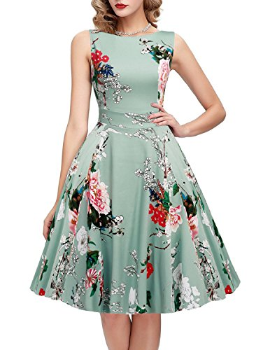 OWIN Women's Vintage 1950's Floral Spring Garden Party Dress Party Cocktail Dress (S, Ice Blue) (Dresses Vintage compare prices)