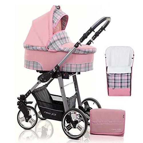 2 in 1 Kinderwagen Neo X3 - Kinderwagen + Sportwagen + Fußsack + GRATIS ZUBEHÖR in Farbe Pink-Klein Kariert