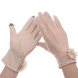 Vbiger Summer Women Touch Screen Lace Cotton Short Gloves (Beige2)