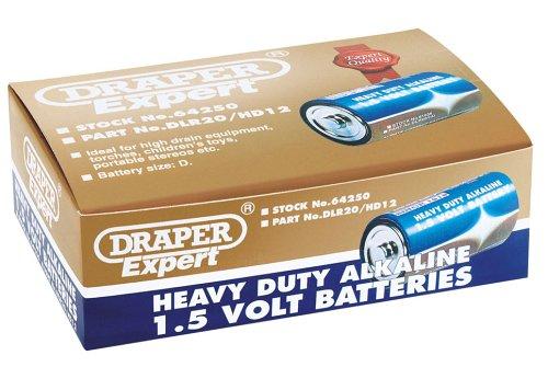 Draper Expert 64250 DLR20/HD12 Lot de 12 piles alcalines très résistantes D