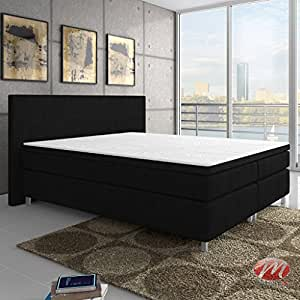 boxspringbett king size xl polsterbett boxspringbetten betten 180x200 cm schwarz inkl. Black Bedroom Furniture Sets. Home Design Ideas