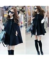 Fashion Womens Black Batwing Cape Wool Poncho Jacket Winter Warm Cloak Coat