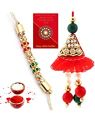 Ethnic Rakhi Fashionable And Stylish Rajasthani Multi-Color Floral Pattern Bhaiya Bhabhi Mauli Thread And Beads... - B01IIMG0DC
