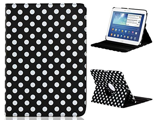 """360 Degree Rotation Polka Dot Faux Leather Case With Stand For Samsung Galaxy Tab3 P5200 10.1"""" Tablet Pc (Black)Ysk"""