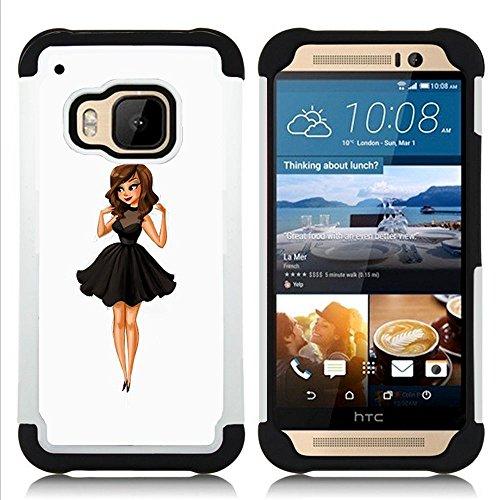 HTC One M9 /M9s / One Hima - 3 in 1 Colorful Heavy Duty Stampato in PC Soft silicone nero della copertura gel della cassa Jacket (Moda para niños Señora Dulce Mujer Linda)