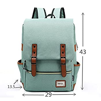 orota Vintage College Backpack School Bookbag Canvas Laptop Backpack rucksacks