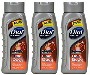 Dial for Men, Ultimate Clean Hair & Body Wash, 16-Ounce Bottles (Pack of 3)