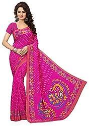 Design Willa Smooth feel Art crepe Sari (DWPC056,Pink)