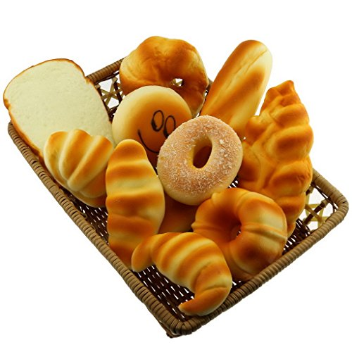 Gresorth 10 PCS Fake Cake Artificial Bread Set Bundle Platter Photography Props Kitchen Toy Decoration Bread Basket Cakes