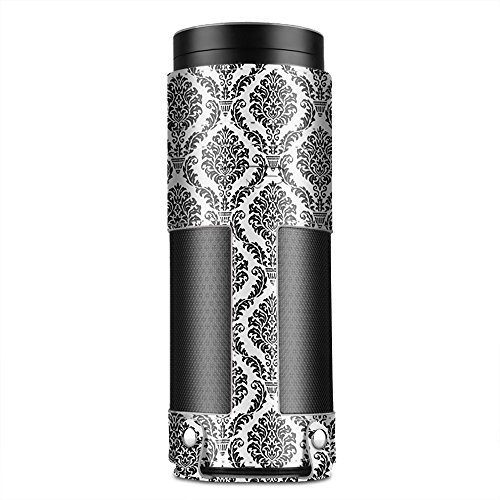TNP Case for Amazon Echo (Damask Black) - Premium PU Leather Cover Sleeve Skins Carrying Storage Travel Bag with Holding Strap & Carabiner Hook Protective Accessory for Echo Portable Speaker (Amazon Try Prime compare prices)