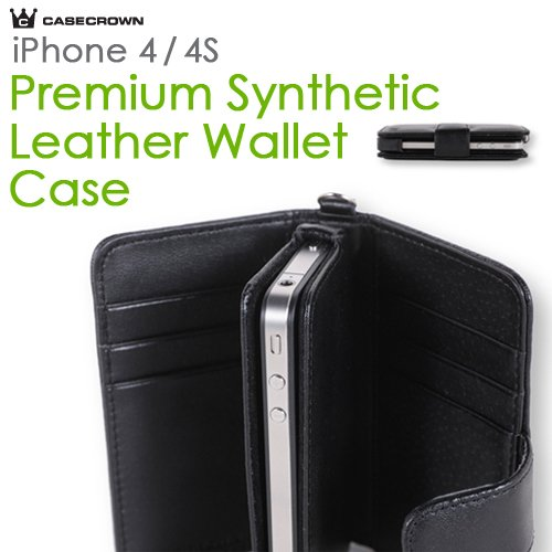 CaseCrown Apple iPhone 4 and 4S Premium Synthetic Leather Wallet Case (Fits AT&T, Sprint and Verizon iPhone 4 and 4S)